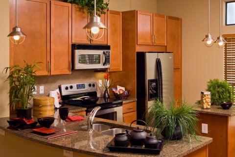 観葉植物 キッチン 室内 木製