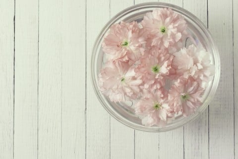 ガラスボール 花 ピンク