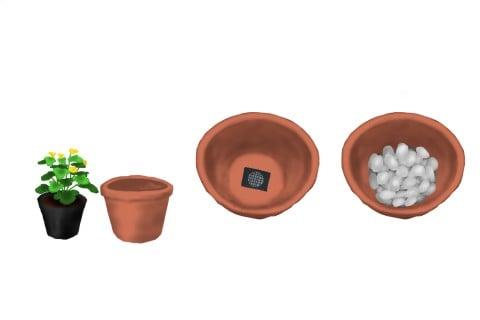 植え付け 植え替え 鉢植え 鉢底石 ネット_イラスト