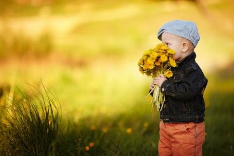子供 プレゼント 花束 黄色 夕方