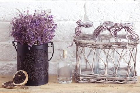 花瓶 ブリキ ラベンダー ドライフラワー