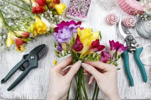 切り花 剪定 花束