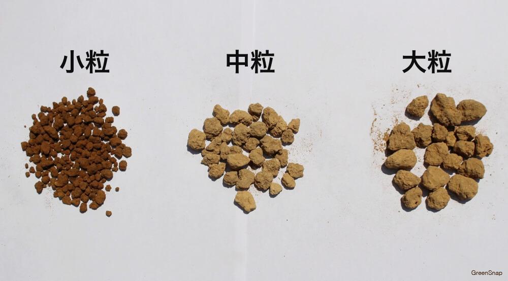 赤玉土 小粒 中粒 大粒 比較