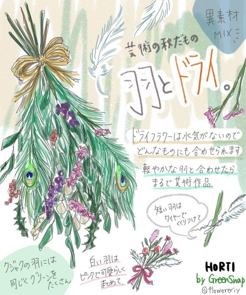 まるで芸術!「ドライフラワーと羽」の褒められる組み合わせ方【#エリの花日記 〜vol.17〜】