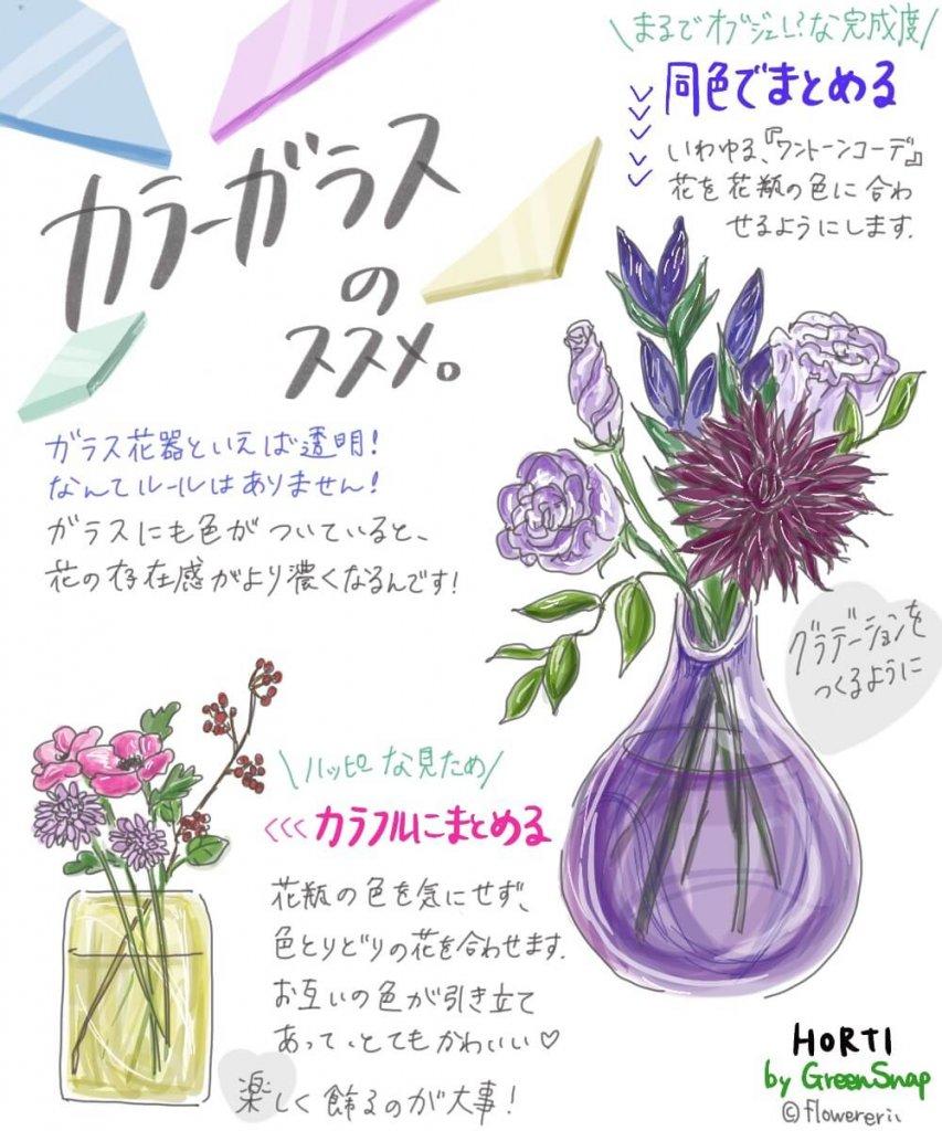 カラーガラスのススメ|色付き花瓶でお花をもっと可愛くできるらしい?【#エリの花日記 〜vol.20〜】