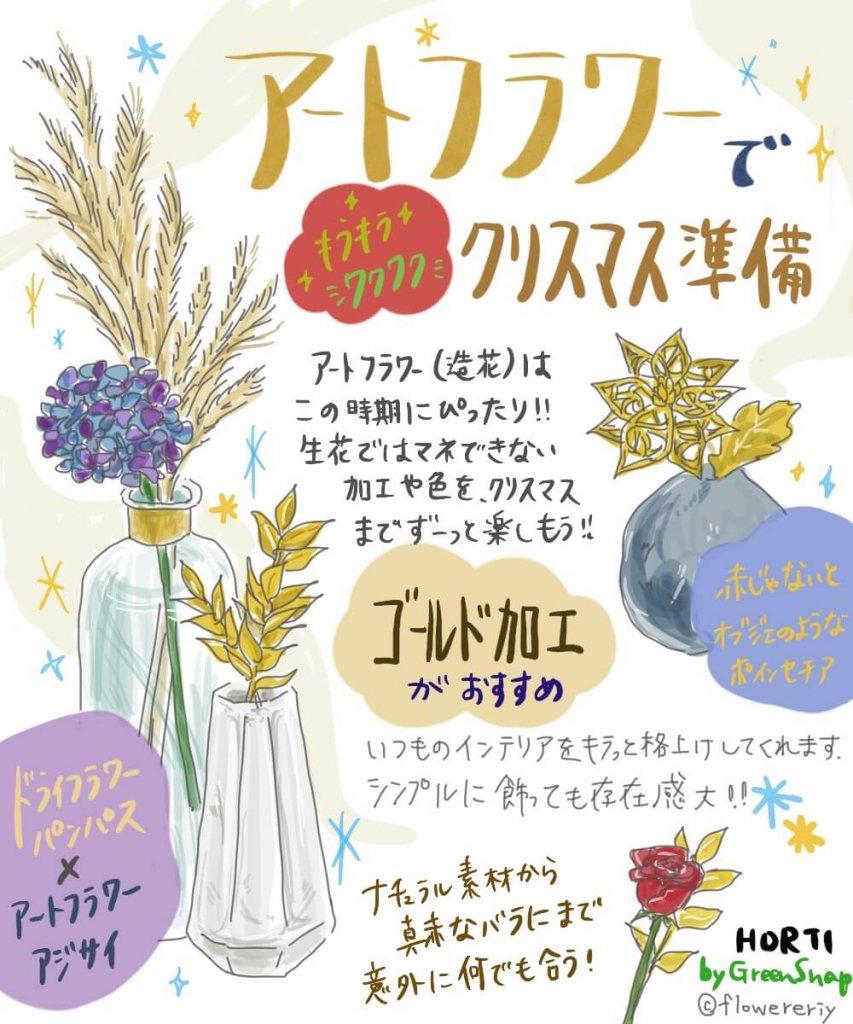 クリスマスにはキラキラな花を!あなたの知らないアートフラワーの世界【#エリの花日記 〜vol.27〜】